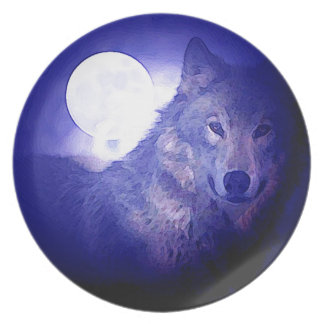 Wolf, Moon & Blue Night Party Plate