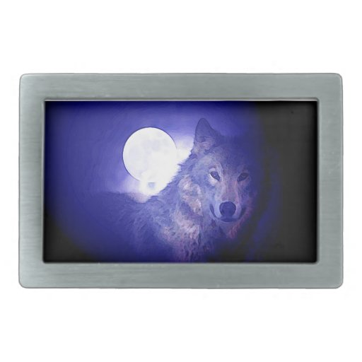 Wolf, Moon & Blue Night Rectangular Belt Buckles