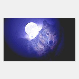 Wolf, Moon & Blue Night Rectangular Sticker