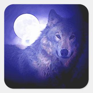 Wolf, Moon & Blue Night Square Sticker