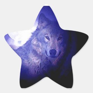 Wolf, Moon & Blue Night Star Sticker