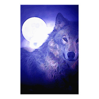 Wolf, Moon & Blue Night Stationery