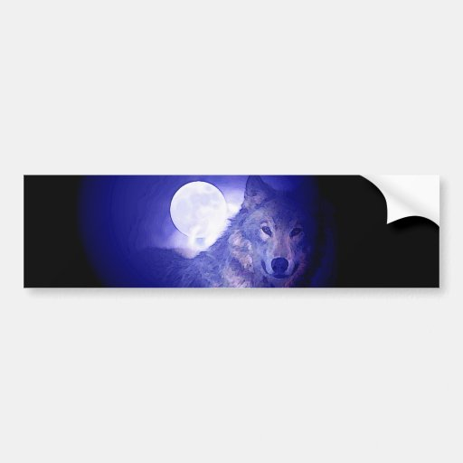 Wolf & Moon Bumper Stickers