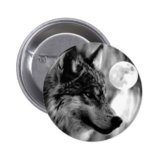 Wolf & Moon Pinback Button