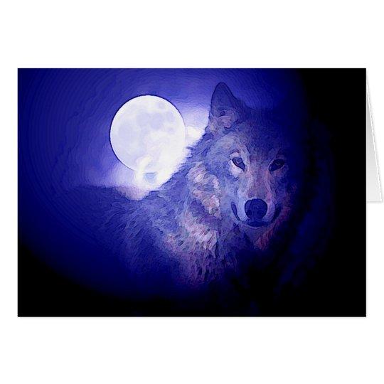 Wolf & Moon Card