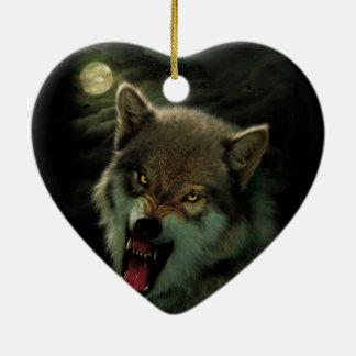 Wolf moon ceramic ornament
