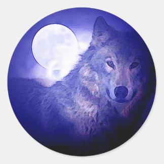Wolf & Moon Classic Round Sticker