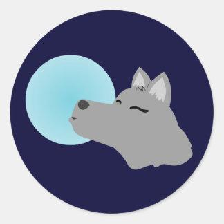 Wolf Moon Classic Round Sticker