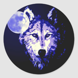 Wolf & Moon Dark Blue Night Collage Classic Round Sticker