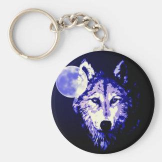 Wolf & Moon Dark Blue Night Collage Keychain