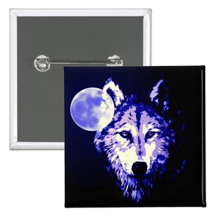 Wolf & Moon Dark Blue Night Collage Pinback Button