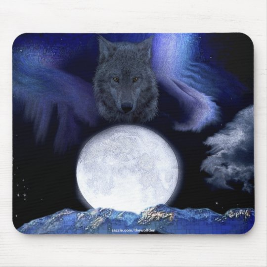Wolf, Moon & Mountains Wildlife Fantasy Art Mouse Pad