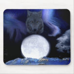 Wolf, Moon & Mountains Wildlife Fantasy Art Mouse Pads