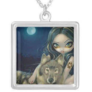 Wolf Moon NECKLACE gothic fairy wolves necklace