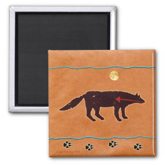 Wolf Moon Painting 2 Inch Square Magnet