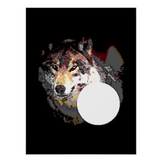 Wolf & Moon Poster Print - Wolves Posters