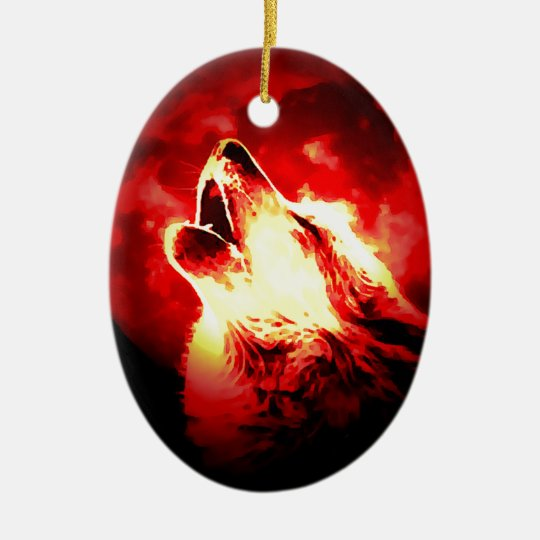 Wolf, Moon & Red Sky Ceramic Ornament