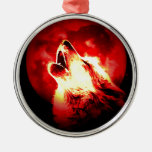 Wolf, Moon & Red Sky Christmas Tree Ornament