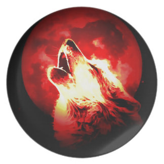 Wolf, Moon & Red Sky Dinner Plate
