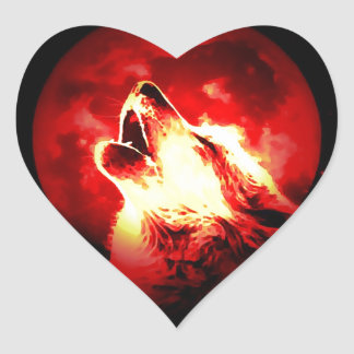 Wolf, Moon & Red Sky Heart Sticker