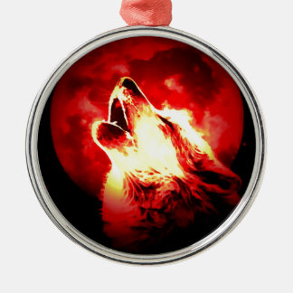Wolf, Moon & Red Sky Round Metal Christmas Ornament