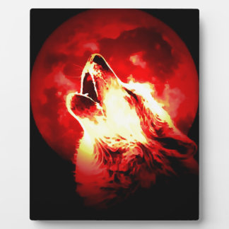Wolf, Moon & Red Sky Display Plaque
