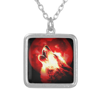 Wolf, Moon & Red Sky Silver Plated Necklace