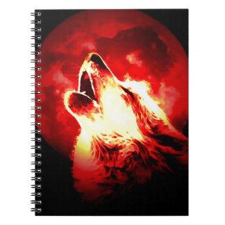 Wolf, Moon & Red Sky Spiral Notebook