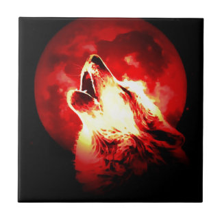 Wolf Moon Red Sky Ceramic Tile