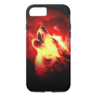 Wolf, Moon & Red Sky Tough iPhone 7 Case