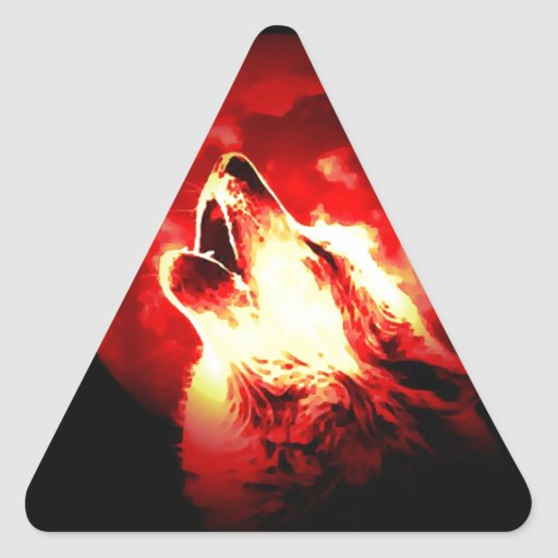 Wolf, Moon & Red Sky Triangle Sticker