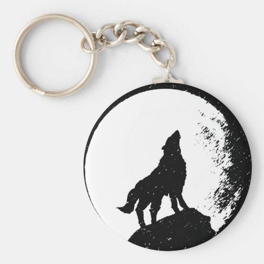 Wolf & Moon Silhoutte Keychain