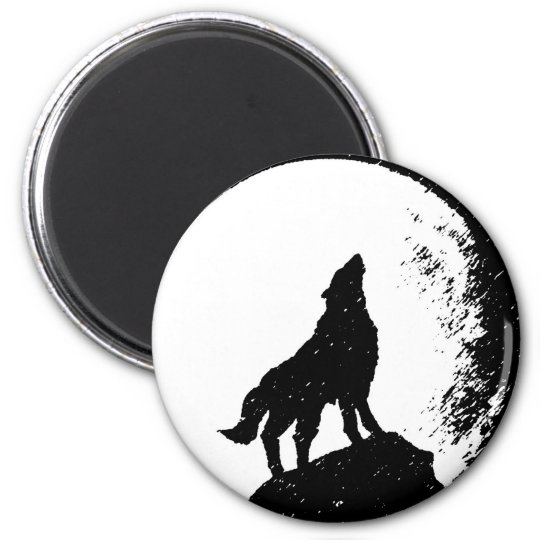 Wolf & Moon Silhoutte Magnet