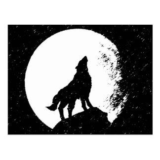 Wolf & Moon Silhoutte Post Card