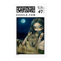 art, fantasy, eye, eyes, wolf, wolves, dog, dogs, moon, moons, fullmoon, full, full moon, wolfgirl, wolfdog, wolfdogs, girl, feral, werewolf, werewolves, native, big eye, big eyed, jasmine, becket-griffith, becket, griffith, jasmine becket-griffith, jasmin, strangeling, artist, goth, gothic, fairy, gothic fairy, faery, fairies, faerie, fairie, Stamp with custom graphic design