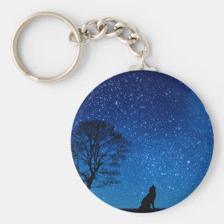wolf moon stars keychain