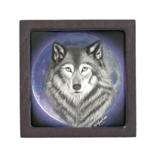 Wolf Moon Wood and Tile Gift Box