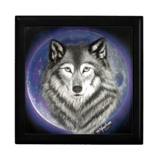 Wolf Moon Wood and Tile Jewelry Box
