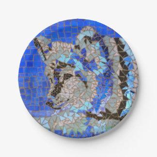 Wolf Mosaic Paper Plate