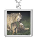 Wolf mother with young pups personalized necklace