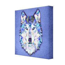Wolf Multi Color Mixed Media Design 1 Canvas Print