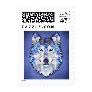 Wolf Multi Color Mixed Media Design 1 Postage