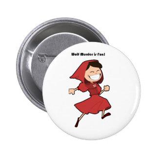 Wolf Murder Little Red Riding Hood Cartoon Button