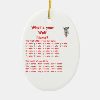wolf name ornament