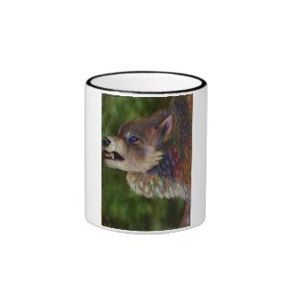 Wolf of many colors ringer coffee mug