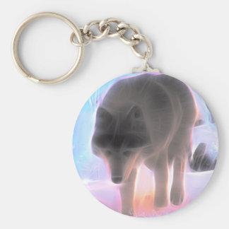 Wolf of the Winter Aurora Keychain