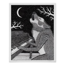 Wolf on Keys Poster
