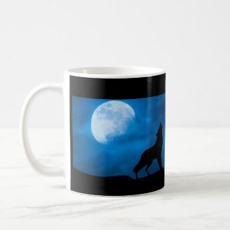 Wolf on Ledge with Moon and The Chamber Magazine Coffee Mug