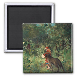 Wolf on Path with Red 2 Inch Square Magnet