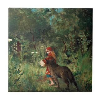 Wolf on Path with Red Ceramic Tiles